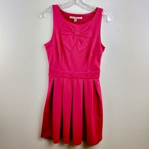 💘LC Lauren Conrad Bow Dress Pleated Hot Pink